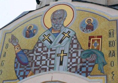 Мозаичный лик Николая Чудотворца появился на храме Морского вокзала