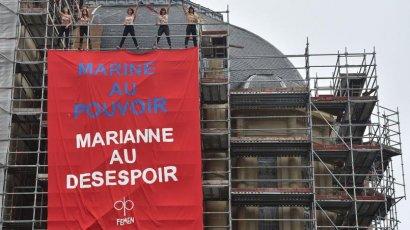 Femen голышом протестовали возле участка Ле Пен (ВИДЕО)