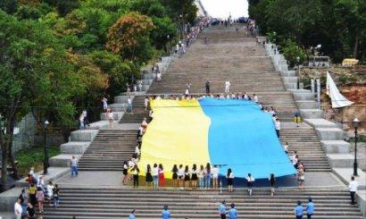 На Потёмкинской лестнице 26-метровый флаг Украины