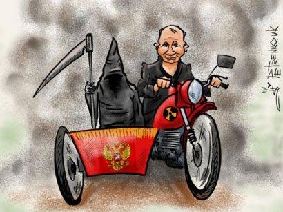 Поездку Путина на мотоцикле изобразили меткой карикатурой