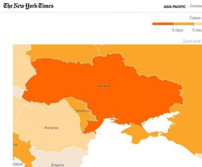 The New York Times опубликовал карту распространения пандемии COVID-19, на которой Крым обозначен российским